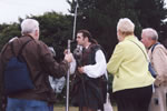 Highlander Adam Bruce demonstrating their weaponry and the ferocity